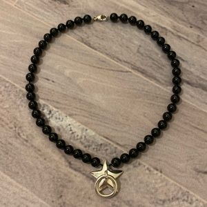 Tiffany Star Door Knocker Onyx Pearl Bead Necklace